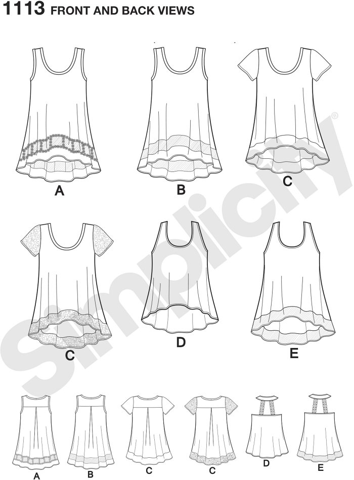 Misses Easy knit tops can be sleeveless with sheer inset band and optional trim, or sleeveless with trim straps in back and option of contrast band. Top can also be short sleeve with option of contrast band and sleeves.