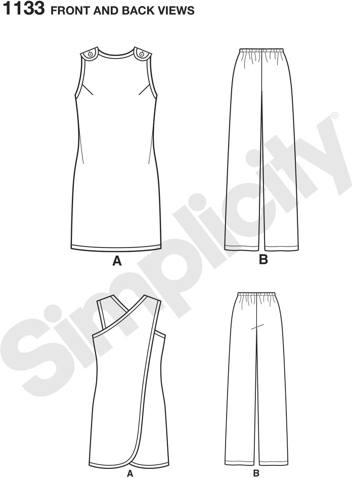 Misses´ vintage Super Jiffy wrap around beach over-up or tunic and elastic waist Trousers pattern is quick and easy to sew using two main pattern pieces. Simplicity sewing pattern.