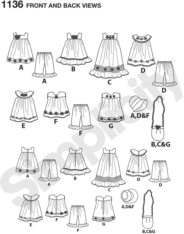 Doll clothes pattern includes dresses, tops and Trousers that feature ruffles, trims, and contrast fabrics. Pattern also includes hat and bag with flower trim. Elaine Heigl Designs for Simplicity.