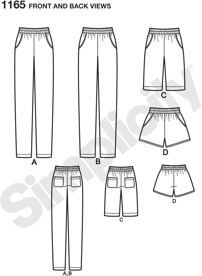 Misses pull-on bottoms with pockets include slim Trousers cut lengthwise or crosswise, shorts that are just above the knee, and short shorts with trim. Simplicity sewing pattern.