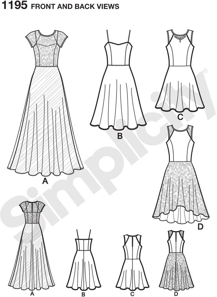 Misses´ Sew Stylish dress can be made floor length with bodice and skirt overlays, knee length with straps, and sleeveless about the knee or high low with contrast yoke and skirt overlay.