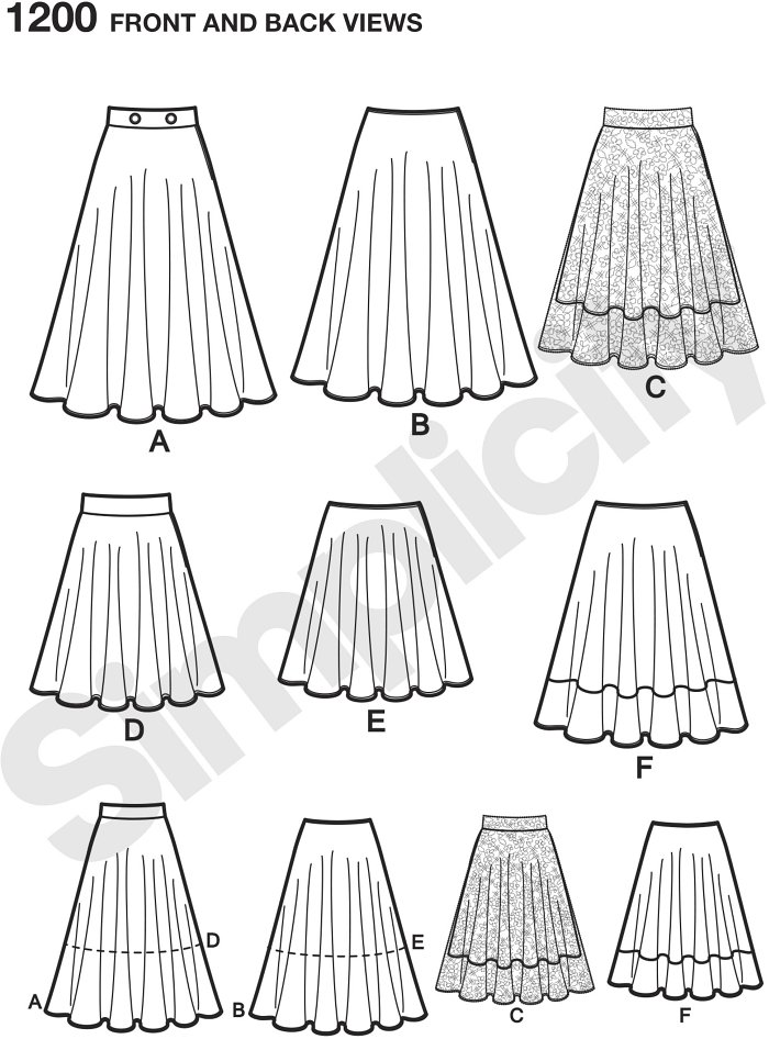 """Misses´ Easy to Sew three quarter circle skirt can be 20"""" or 30"""" with or without waistband, 25"""" with contrast lower band, and 20"""" with stylish 25"""" overskirt and waistband. Simplicity sewing pattern."""