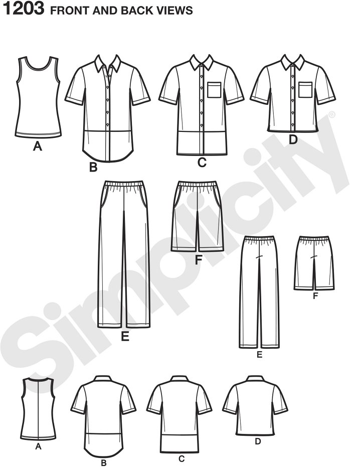 Misses´ and miss plus sportswear pattern includes short sleeve button down with or without contrast lower band in two shapes, knit tank top, shorts and Trousers with elastic waist and pockets. American Sewing Guild.