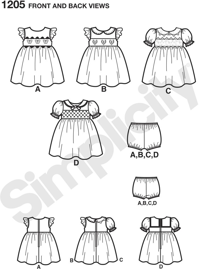 Get this classic baby look at any sewing level using different techniques including smocking, cross-stitch, applying appliques and using lace edging. Panties included. Simplicity sewing pattern.