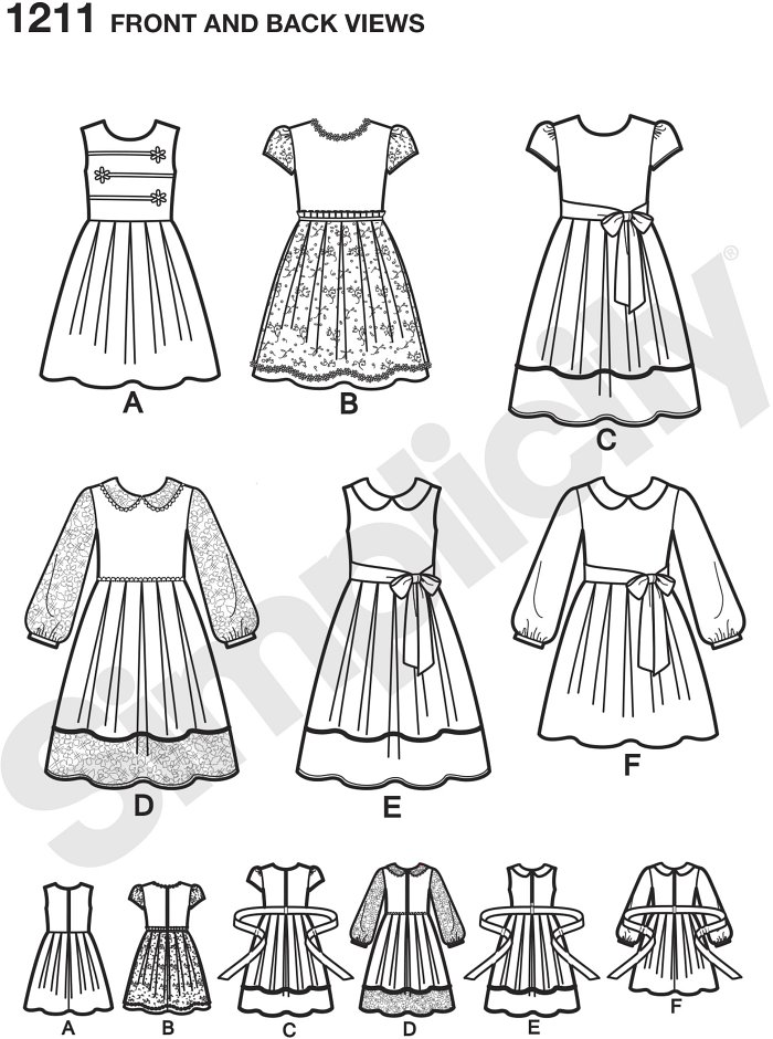 These decorative dresses for children and girls can be made in two length and features a variety of fabric and trim options so you can create the perfect dress for any occasion. Simplicity sewing pattern.