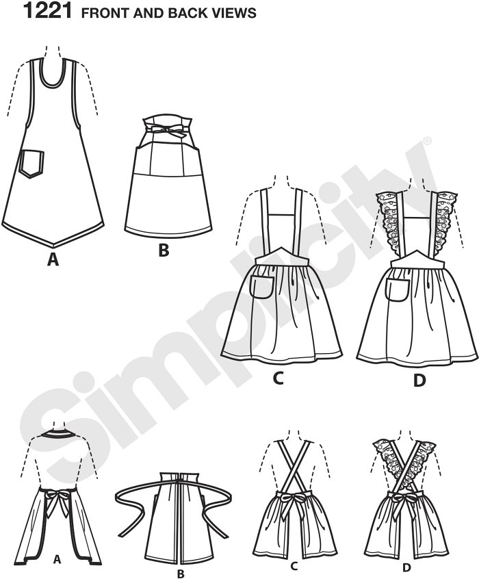 Vintage simplicity aprons will keep you stylish in the kitchen. Aprons can be made with halter top and pocket, with crossed back, pocket and option of eyelet, and waist apron with front tie and pockets.
