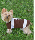 Have fun dressing your dog in these adorable clothes for small, medium and large size dogs. Hat and scarf included for small dog. All feature hook and loop tape closures for easy dressing. Patty Martin Designs.