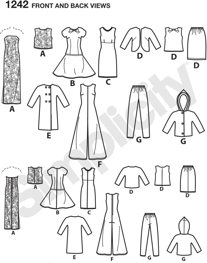 "Get an array of outfits with this pattern for 11 1/2"" dolls. Pattern includes strapless dress with over bodice, drop waist dress, sleeveless dress, skirt, top and jacket, coat, jumpsut, Trousers and hooded jacket."