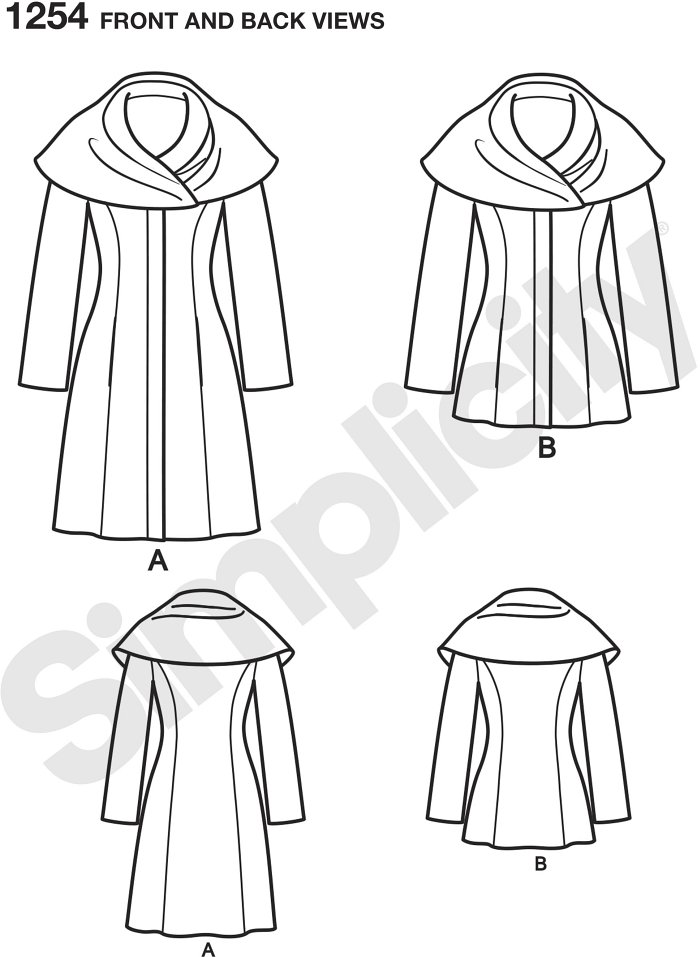 This Easy-to-Sew lined coat or jacket from Leanne Marshall is sure to be a hit. Over sizes collar can be worn like a shawl or a hood for extra warmth and great winter style. Leanne Marshall for Simplicity.