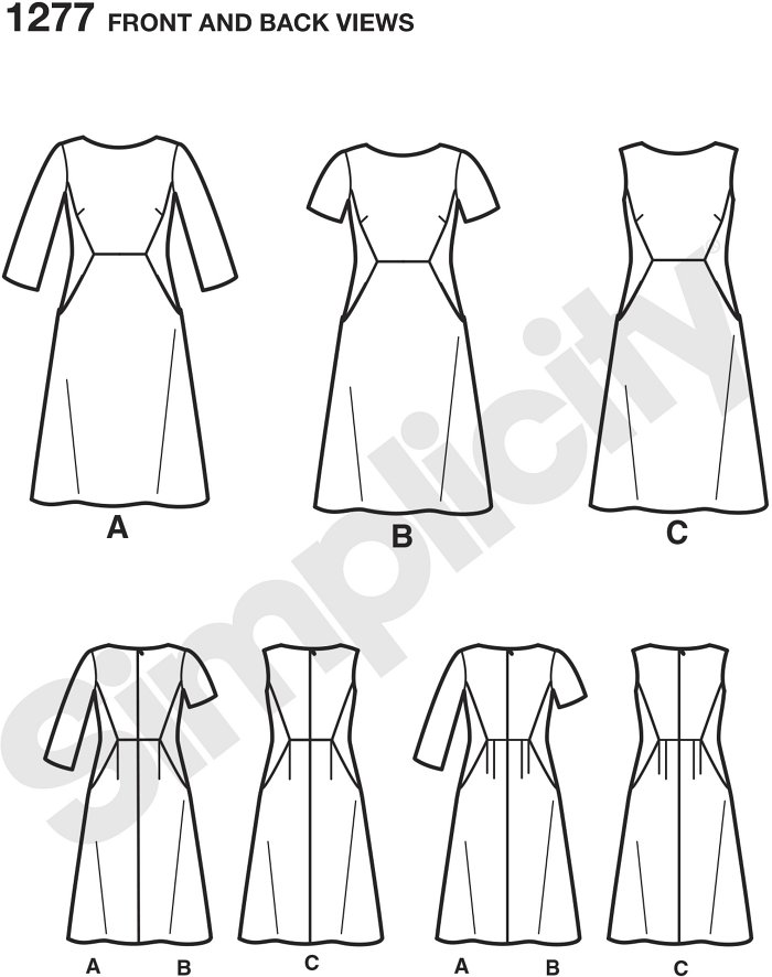 Simplicity Amazing Fit dress pattern for miss & plus sizes features bust darts & contrast side panels. Individual patterns included for slim, average and curvy fit & cup sizes B, C, D for miss & C, D, DD for plus.