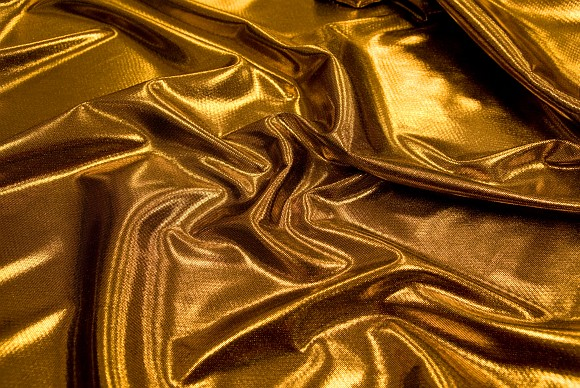 Gold color polyester jersey with foil print
