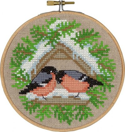 Birds feeding, winter wall embroidery