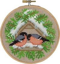 Birds feeding, winter wall embroidery. Permin 13-6240.