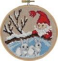 Permin 13-6241. Santa and rabbits, christmas wall embroidery.