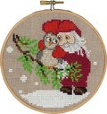 Permin 13-6242. Santa claus and owl, christmas wall embroidery .