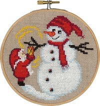 Santa claus and snowman, christmas wall embroidery . Permin 13-6244.