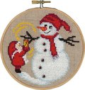 Permin 13-6244. Santa claus and snowman, christmas wall embroidery .