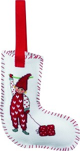 Christmas stocking with elf embroidery. Permin 21-2265.