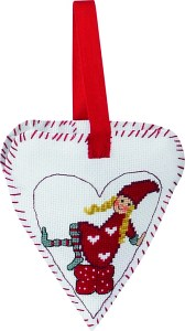 Christmas heart with girl-elf embroidery. Permin 21-2266.