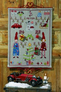 Christmas calendar in linen color with elfs, cars, gifts. Permin 34-1583.