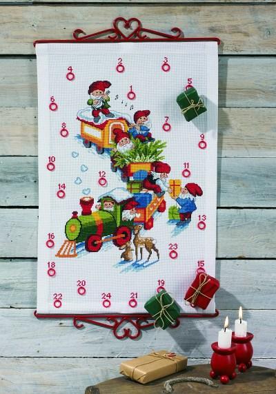 White christmas calendar with trains with elfs