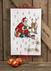 Christmas calendar with santa claus and reindeer . Permin 34-6225.