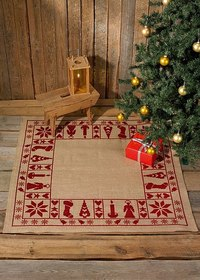 Christmas tree skirt, square, stylish embroidery. Permin 45-6224.