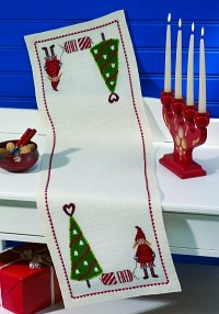 Christmas table runner with elf and tree. Permin 68-2236.