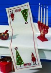 Permin 68-2236. Christmas table runner with elf and tree.