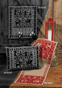 Permin 68-6224. Christmas table runner with beautiful, red, stylish embroidery .