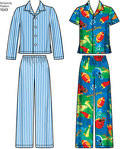 This pattern for children, girls and boys features pull on Trousers, button front shirt in short and long sleeve, long sleeve knit top, and tank top. Simplicity sewing pattern.