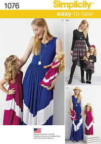 Child´s and Misses´ Maxi Dress and 18 inches Doll Clothes.. Simplicity 1076.
