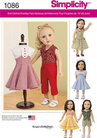 18 inches Doll Clothes. Simplicity 1086.