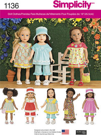 Everyday Clothes for 18 inches Dolls. Simplicity 1136.