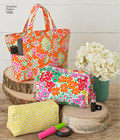 Keep organized with these bag accessories. Pattern includes tote bag, purse, cosmetic cases in different shapes and sizes, and tissue case. Simplicity sewing pattern.