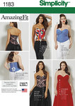 Get a great fit in this Amazing Fit corset in two styles, both with lace up backs. Pattern includes separate pattern pieces for B,C,D, and DD cup sizes for both miss and plus sizes. Simplicity sewing pattern.