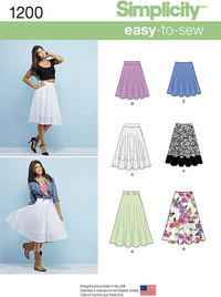 Misses´ 3/4 Circle Skirt with Length Variations. Simplicity 1200.