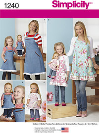 Aprons for Misses, Children and 18 inches Doll. Simplicity 1240.
