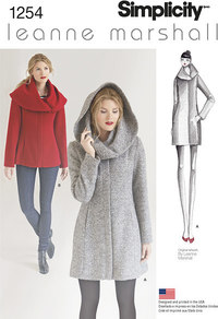 Misses´ Leanne Marshall Easy Lined Coat or Jacket. Simplicity 1254.