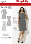 Simplicity Amazing Fit dress pattern for miss and plus sizes features bust darts and contrast side panels. Individual patterns included for slim, average and curvy fit and cup sizes B, C, D for miss and C, D, DD for plus.
