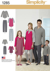 Family Loungewear. Simplicity 1285.