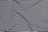 Across-striped black and white cotton-jersey with 5 mm stripes