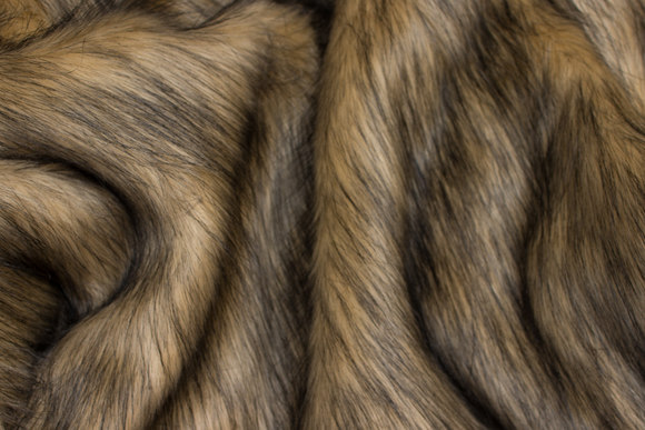 Beautiful, long-haired faux fur in light wolf-color
