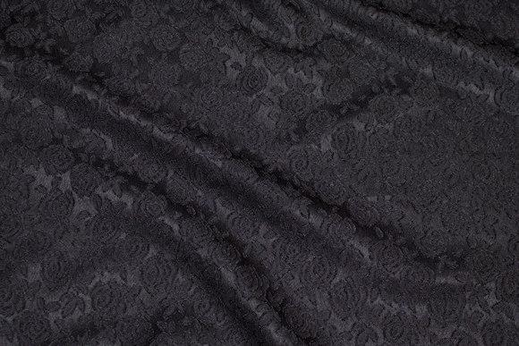 Black jacquard-satin with rose-pattern