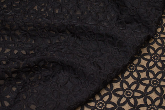 Black, transparent organza with embroidery flowers