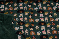 Bottle-green sweatshirt fabric with kid faces and soft fur-back