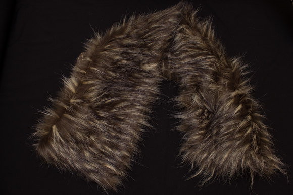 Faux fake fur piece in dark wolf-color