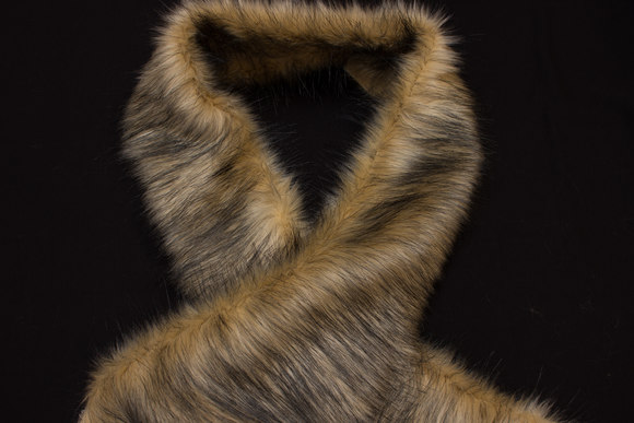 Faux fake fur piece in light wolf-color
