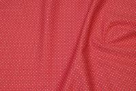Firm coral-color cotton with white mini-dots