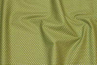 Firm, olive-green cotton with white mini stars